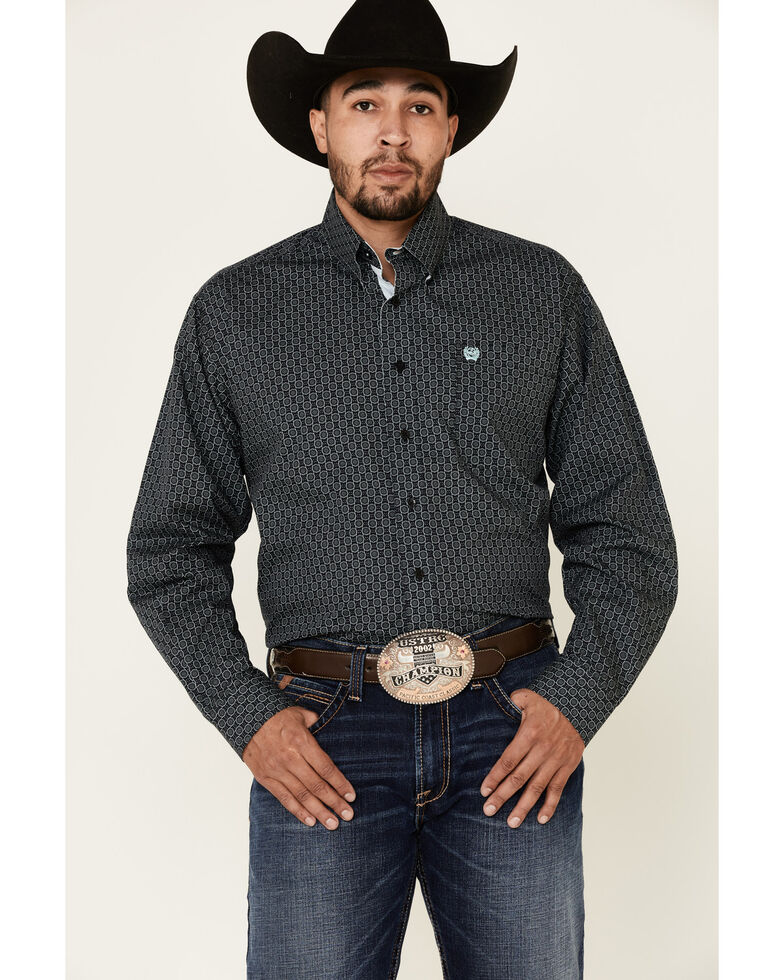 Cinch Men's Black Geo Print Button Long Sleeve Western Shirt , Black, hi-res