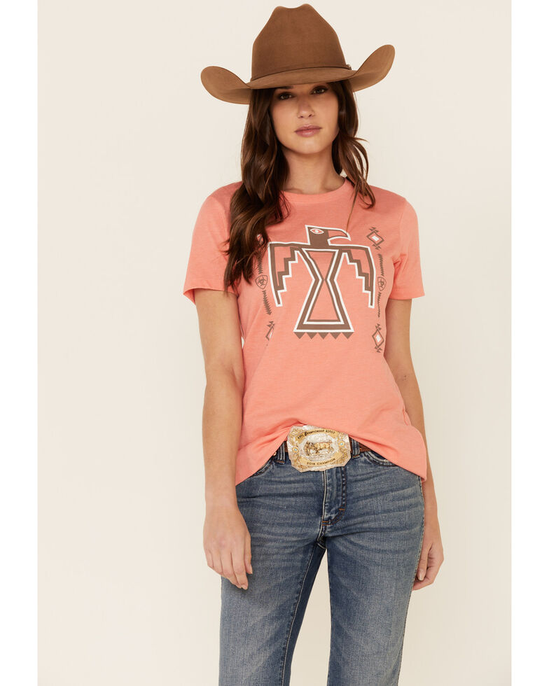 Ariat Women's Coral Free Bird Logo Graphic Tee , Coral, hi-res