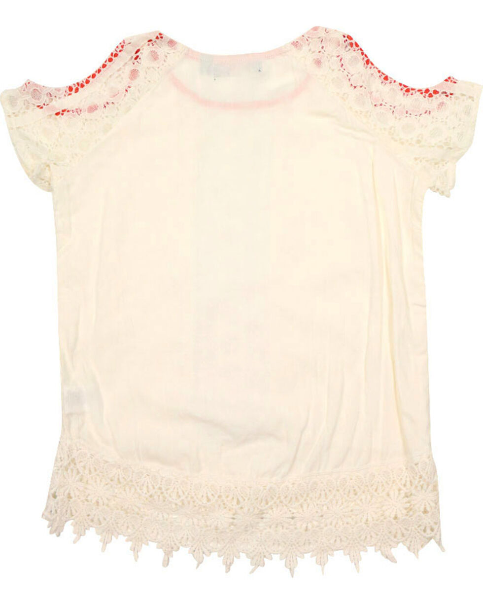 Tempted Girls' Crochet Cold Shoulder Top, Ivory, hi-res