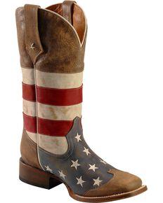Roper Men's Americana Flag Square Toe Western Boots, Blue, hi-res