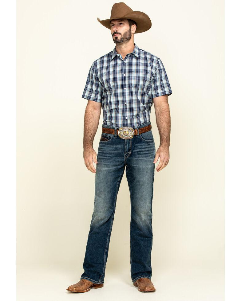 Gibson Men's Honky Tonk Plaid Short Sleeve Western Shirt , Green, hi-res