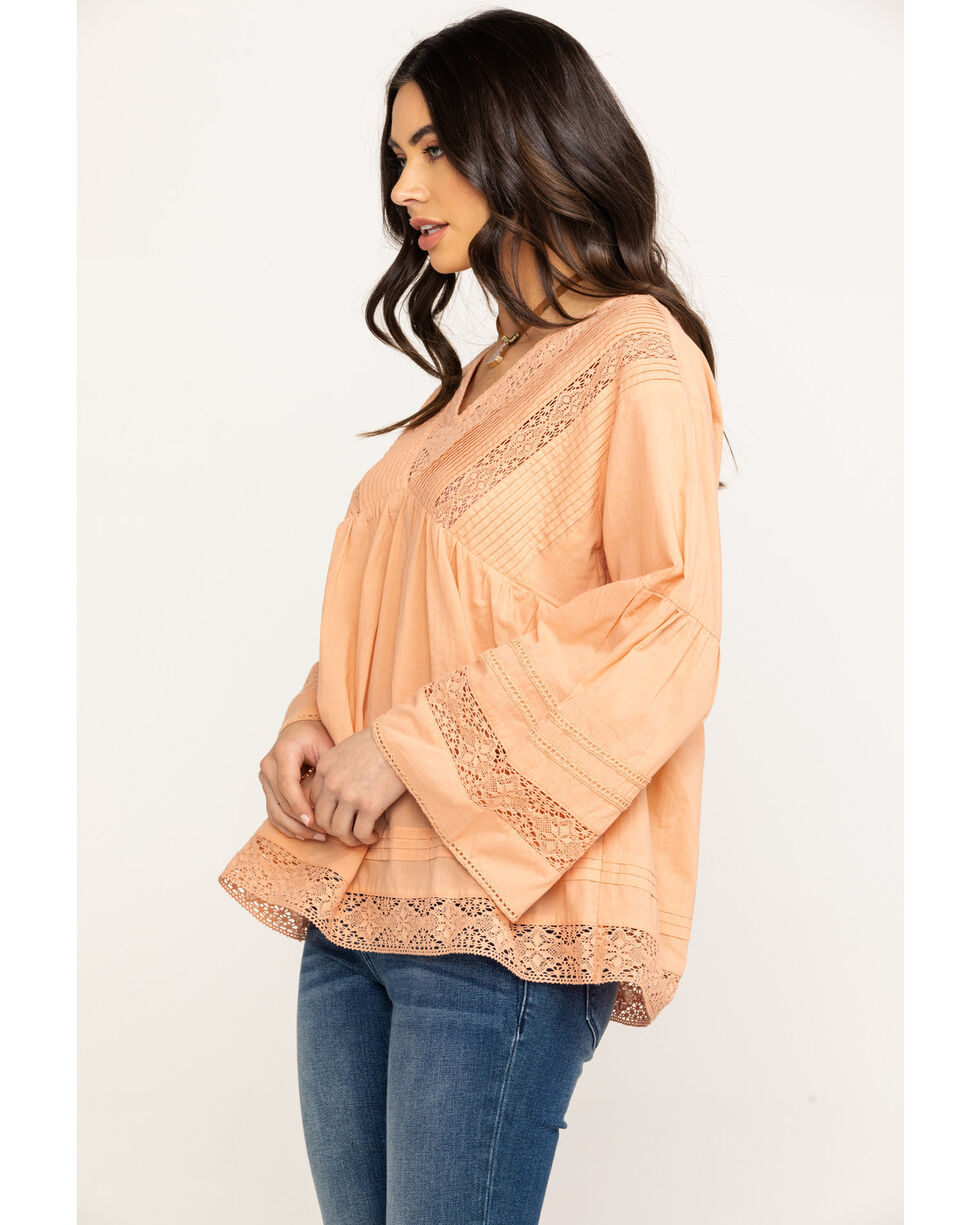 Bodywave Women's Peach Lace Peasant Top , Peach, hi-res