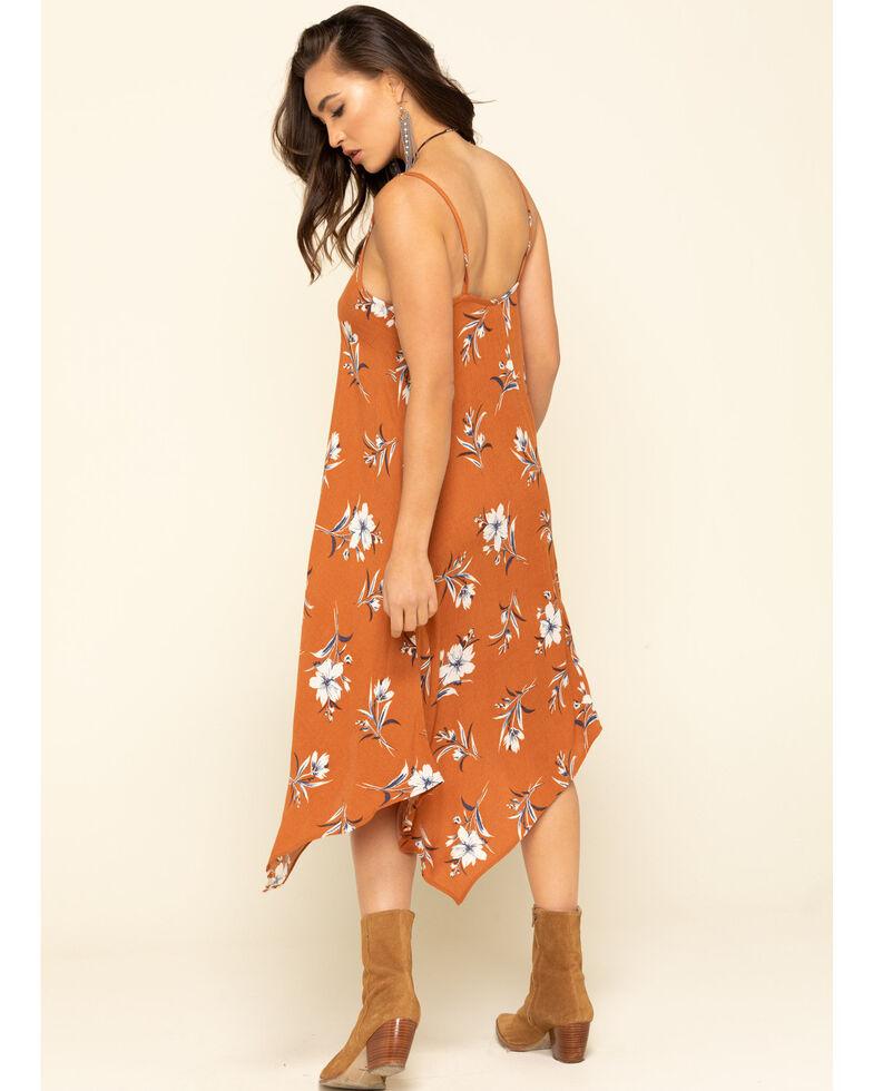 Jody of California Women's Rust Floral Hanky Hem Slip Dress , Rust Copper, hi-res
