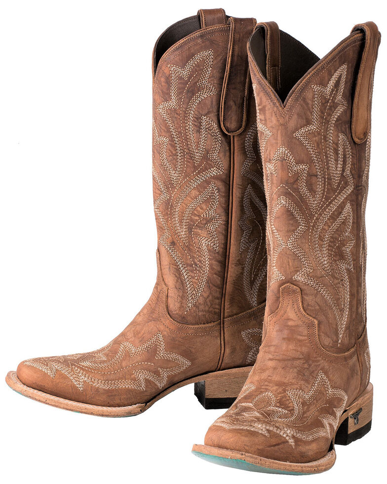 2cfd92c58fb Lane Women's Saratoga Brown Fancy Stitch Cowgirl Boots - Square Toe
