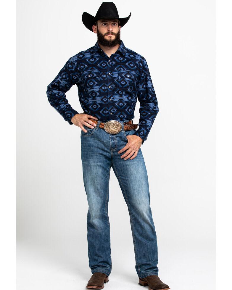 Ely Cattleman Men's Aztec Print Long Sleeve Western Flannel Shirt , Navy, hi-res