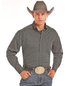 Tuf Cooper Men's Poplin Print Stretch Long Sleeve Western Shirt, Black, hi-res