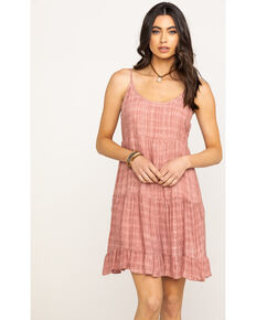 Miss Me Women's Pink Cross Hatch Gauze Tiered Dress, Pink, hi-res