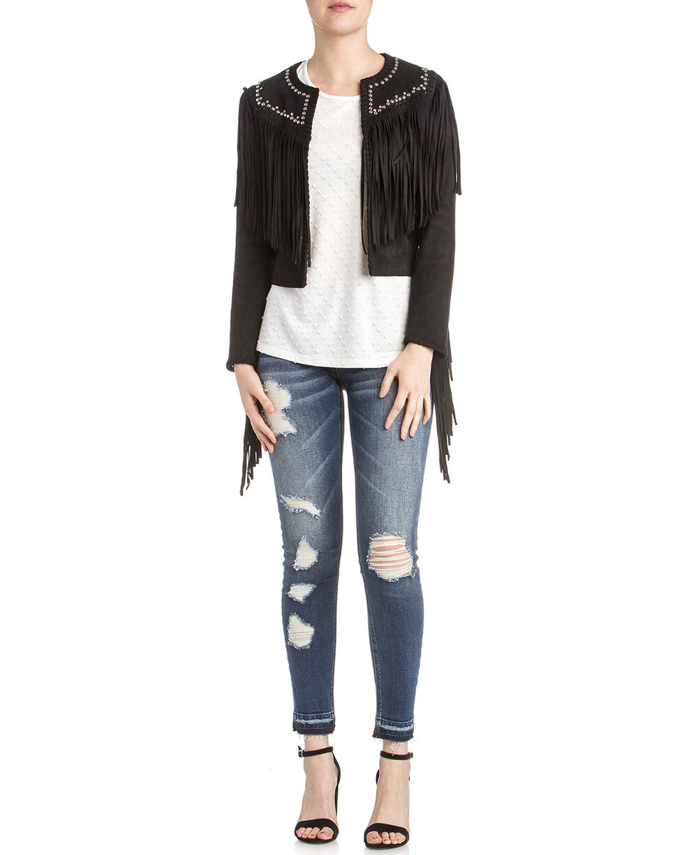 Miss Me Women's Studded Fringe Jacket, Black, hi-res