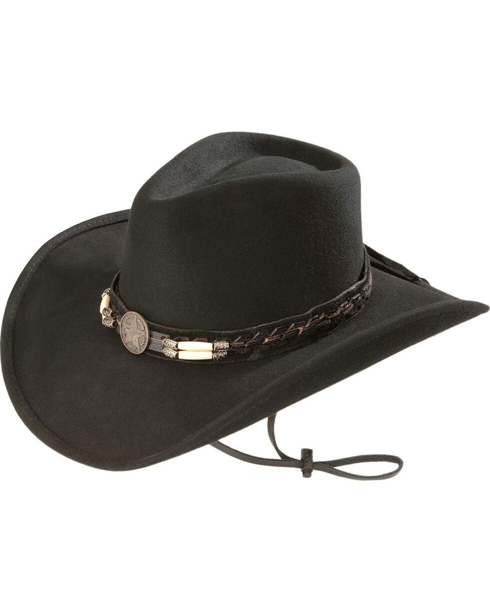 Bullhide Women's Skynard Shapeable Felt Cowgirl Hat, Black, hi-res