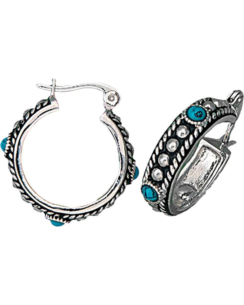 Montana Silversmiths Women's Silver & Turquoise Hoop Earrings, Silver, hi-res