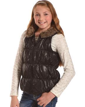 Shyanne Girls' Puff Vest and Heart T-Shirt Set, Black, hi-res