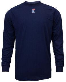 National Safety Apparel Men's 2X-3X Navy FR Control Long Sleeve Work T-Shirt - Tall , Navy, hi-res