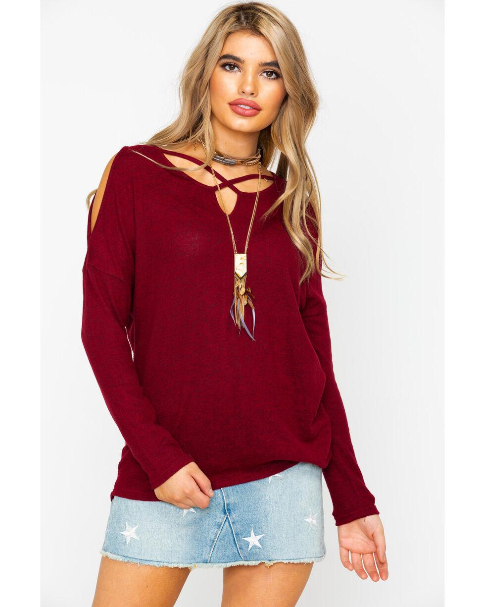 Moa Moa Women's Cross Neck Cozy Cold Shoulder Long Sleeve Top , Burgundy, hi-res