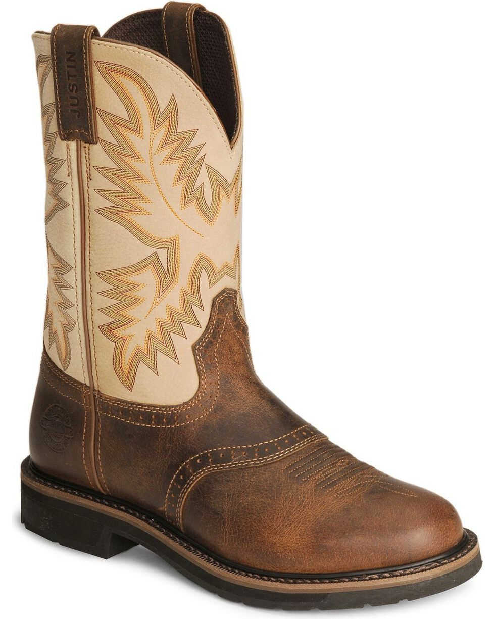 "Justin Men's 11"" Western Work Boots, Waxed Brn, hi-res"