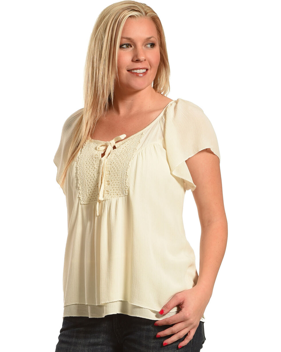 Shyanne® Women's Short Sleeve Peasant Blouse, Navy, hi-res