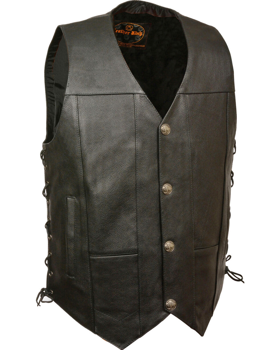 Milwaukee Leather Men's Black Side Lace Vest , Black, hi-res