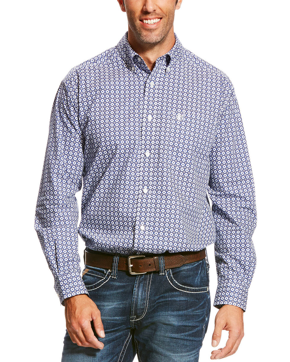 Ariat Men's Patterned Long Sleeve Shirt, Blue, hi-res