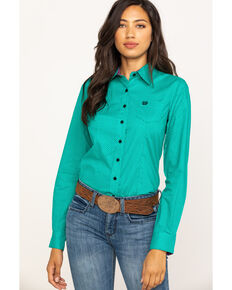 8fadd6577f39b1 Cinch Women's Jade Micro Dot Button Western Core Long Sleeve Shirt