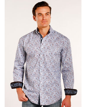 Rough Stock by Panhandle Men's Janmar Paisley Print Long Sleeve Button Down Shirt, Light/pastel Blue, hi-res