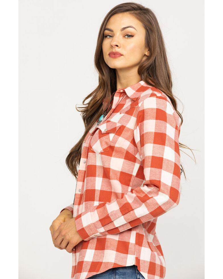 Wrangler Women's Rust Plaid Flannel Shirt, Rust Copper, hi-res