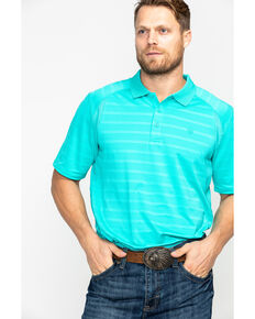Ariat Men's TEK Ceramic Stripe Short Sleeve Polo Shirt , Teal, hi-res