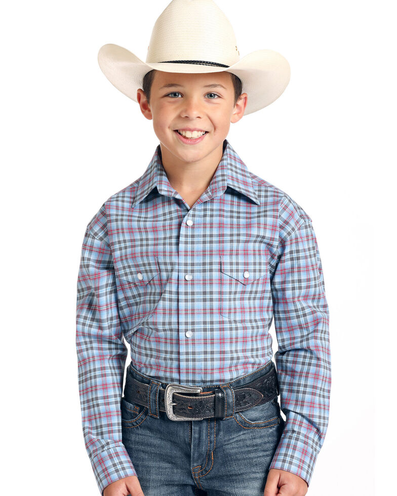 Rough Stock By Panhandle Boys' Luge Ombre Stretch Plaid Long Sleeve Western Shirt , Blue, hi-res