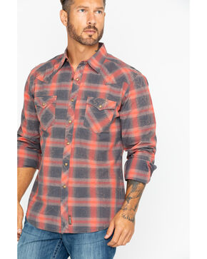 Wrangler Men's Retro Premium Large Plaid Shirt , Taupe, hi-res