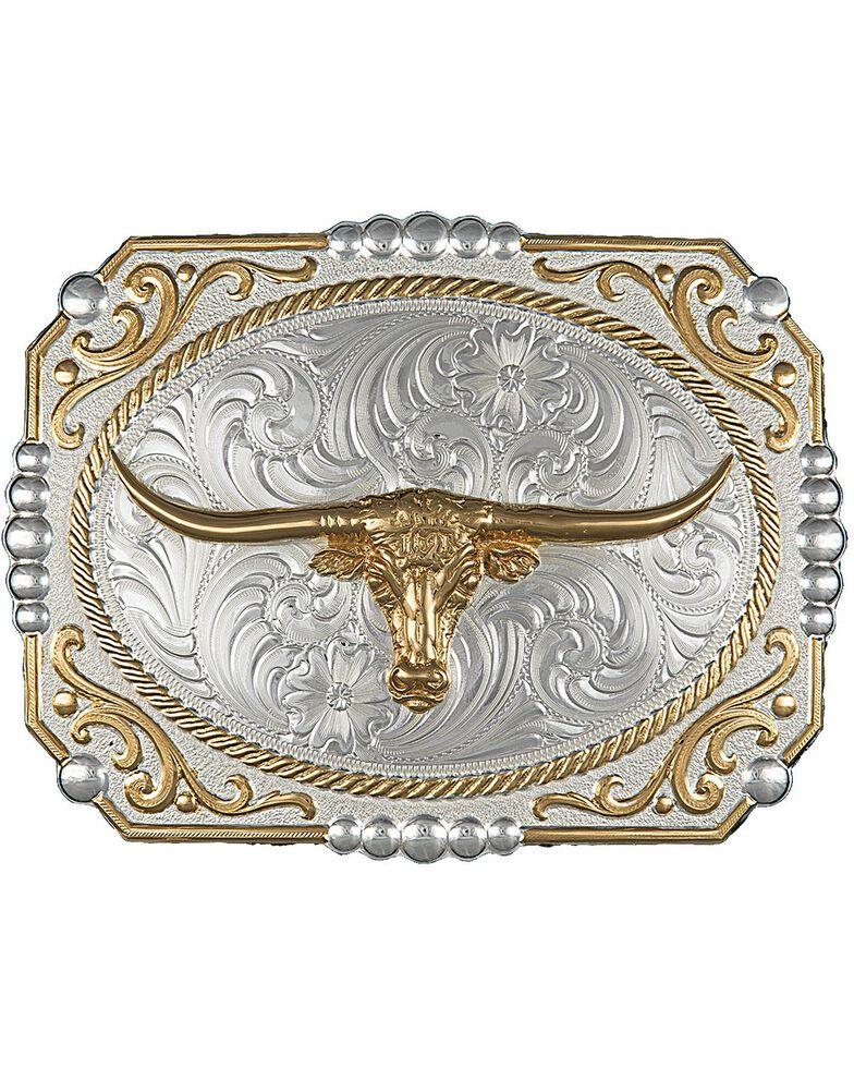 Montana Silversmiths Dual-Tone Cowboy Cameo Longhorn Buckle, Silver, hi-res