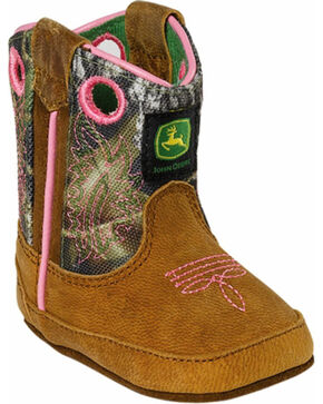 John Deere® Infant Western Crib Boots, Tan, hi-res