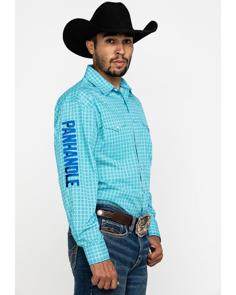 Rough Stock By Panhandle Men's Layton Logo Geo Print Long Sleeve Western Shirt , Turquoise, hi-res