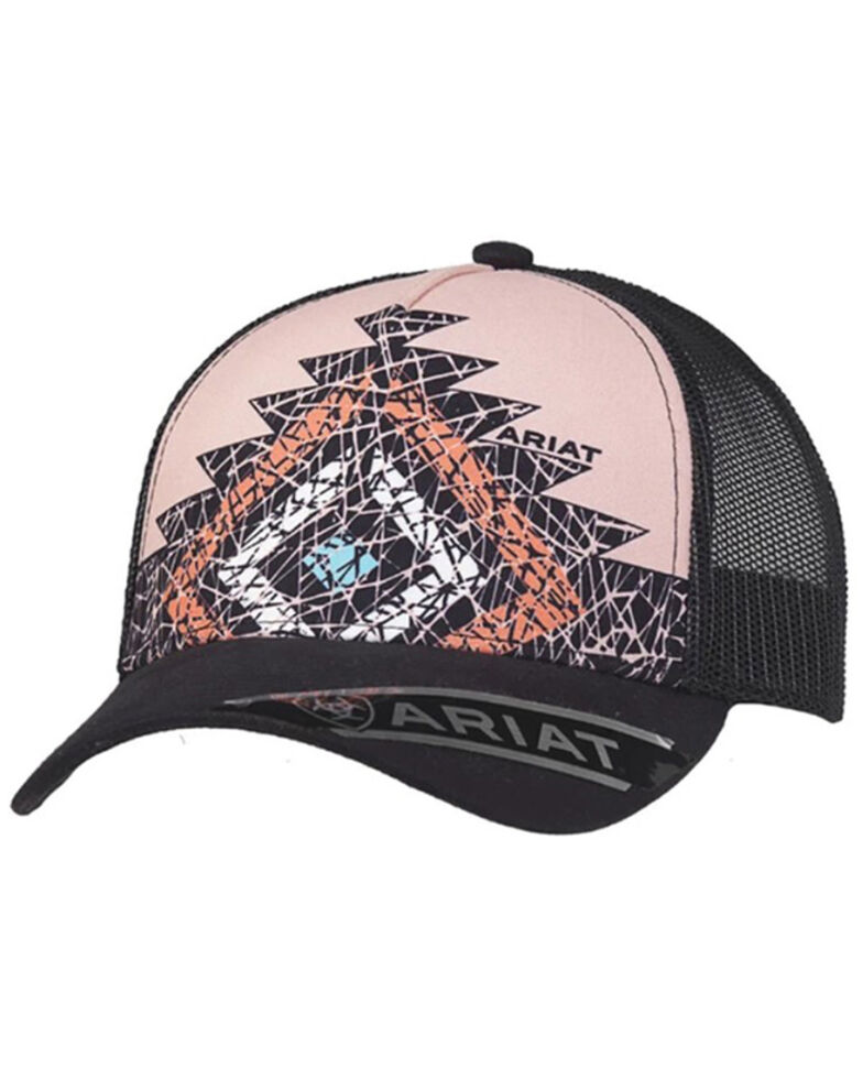 Ariat Women's Pink Diamond Aztec Print Mesh-Back Ball Cap , Pink, hi-res
