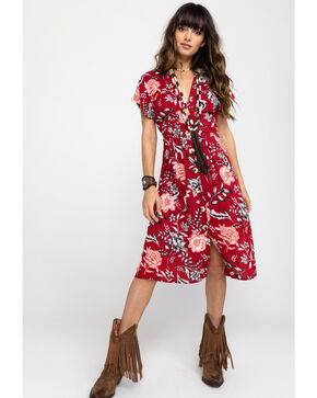 Angie Women's Red Floral V-Neck Button Down Dress, Red, hi-res