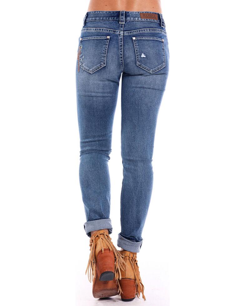 Rock & Roll Cowgirl Women's Western Embroidered Boyfriend Skinny Jeans , Indigo, hi-res