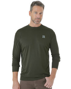 Wrangler Riggs Men's Green Crew Performance Long Sleeve Work T-Shirt - Big & Tall, Green, hi-res
