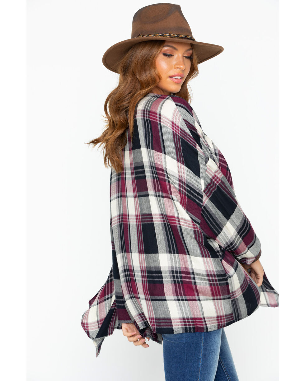 Ivory Love Women's Burgundy Plaid Drape Front Kimono, Burgundy, hi-res