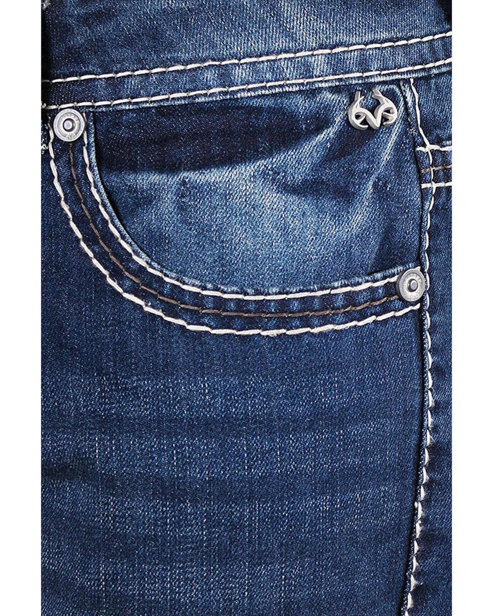 Realtree Men's Faded Boot Cut Jeans, Blue, hi-res
