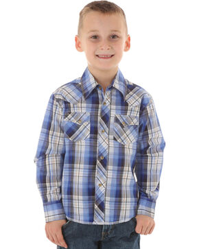 Wrangler Boys' Plaid Long Sleeve Shirt, Blue, hi-res