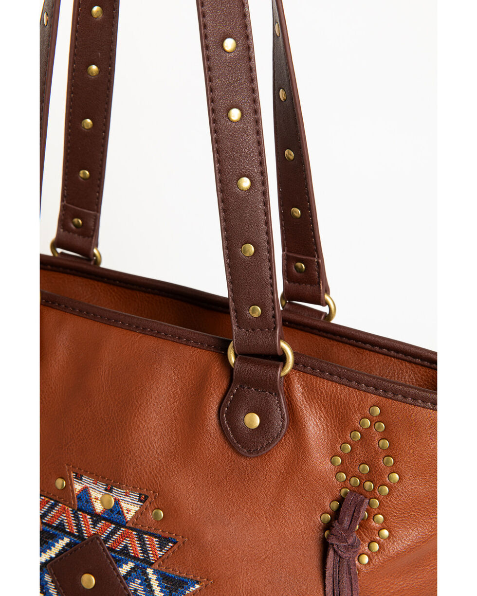 Shyanne Women's Aztec Double Strap Tote with Side Fringe, Brown, hi-res