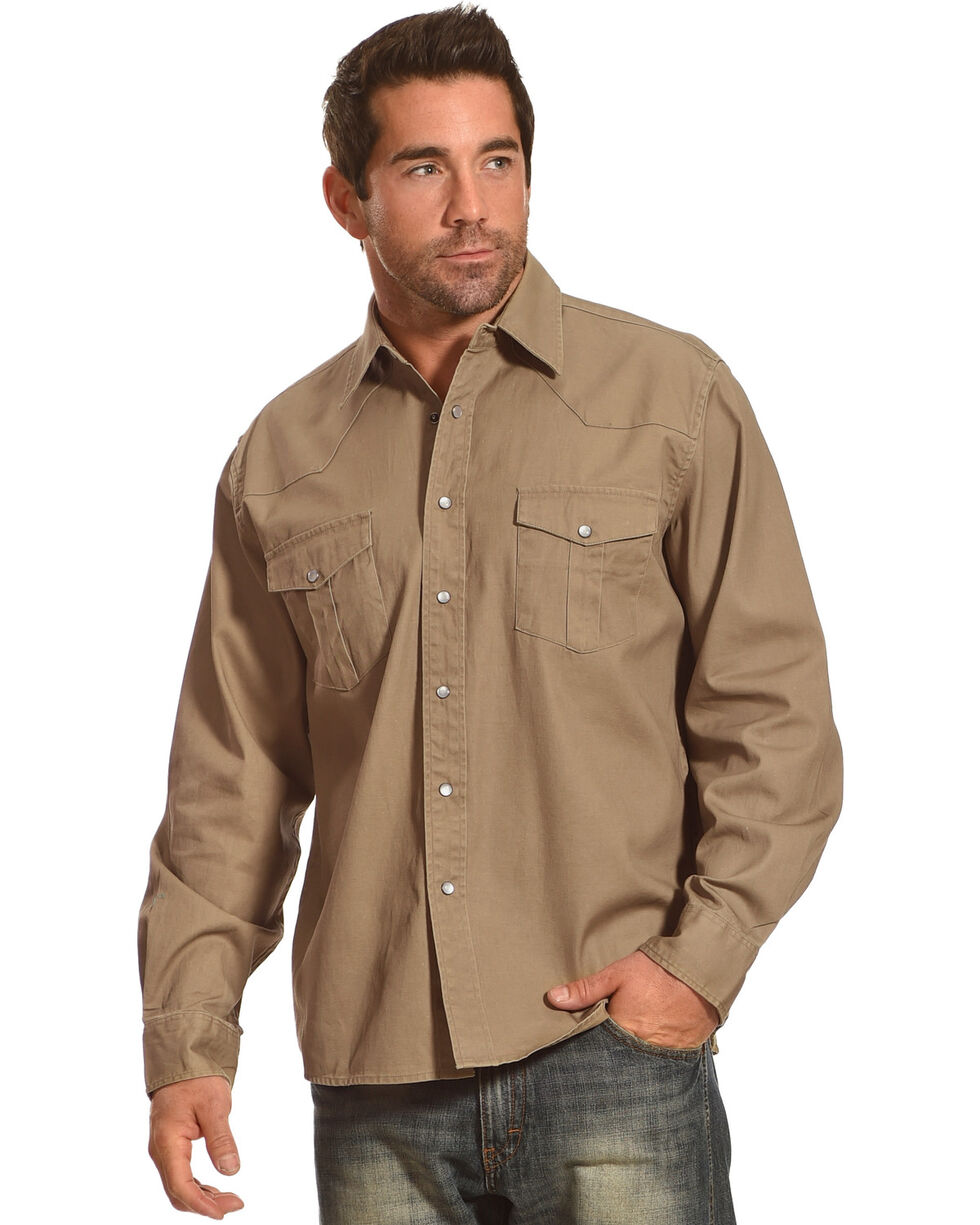 Crazy Cowboy Men's Khaki Legend Long Sleeve Western Work Shirt , Beige/khaki, hi-res