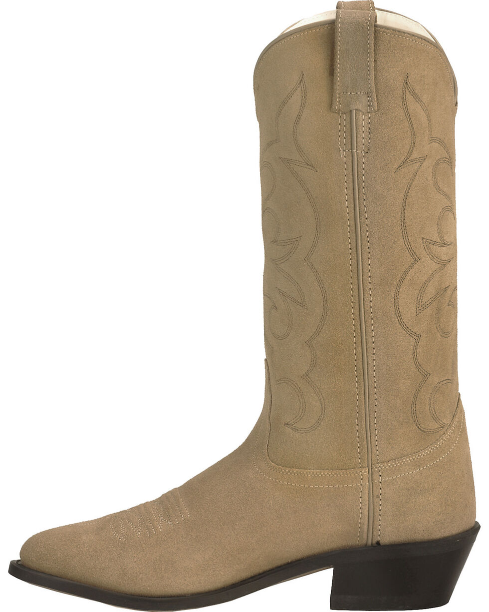 Old West Roughout Suede Cowboy Boots, Natural, hi-res