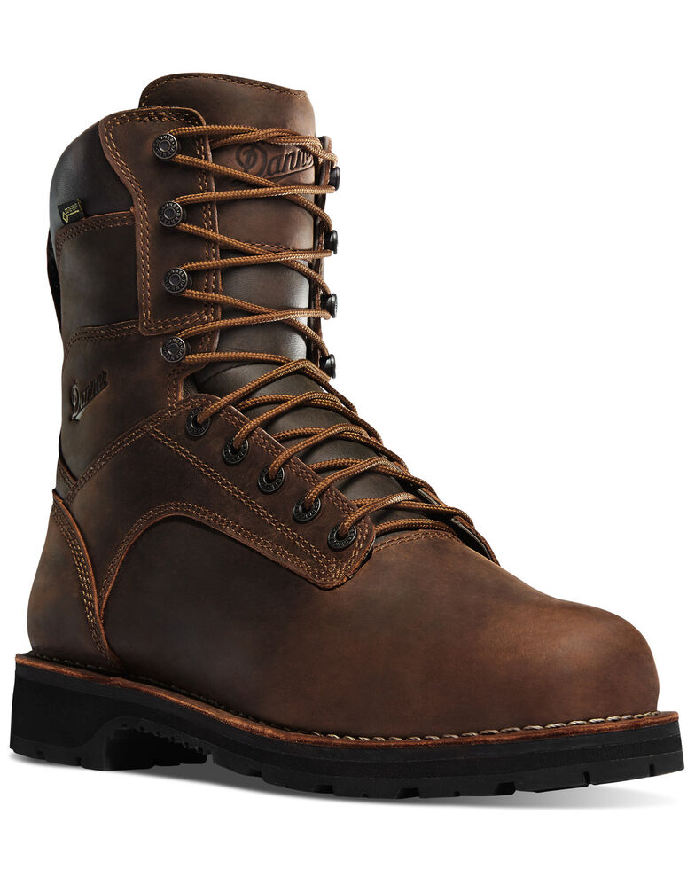 "Danner Men's 8"" Workman Alloy Toe Work Boots, Brown, hi-res"
