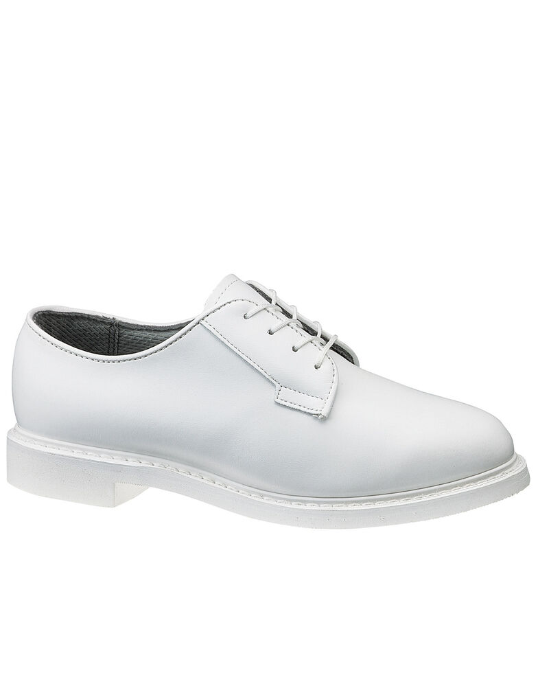 Bates Women's White Leather Oxford Shoes, White, hi-res
