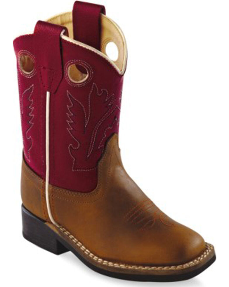 Old West Toddler Boys' Red Cowboy Boots - Square Toe, Distressed, hi-res