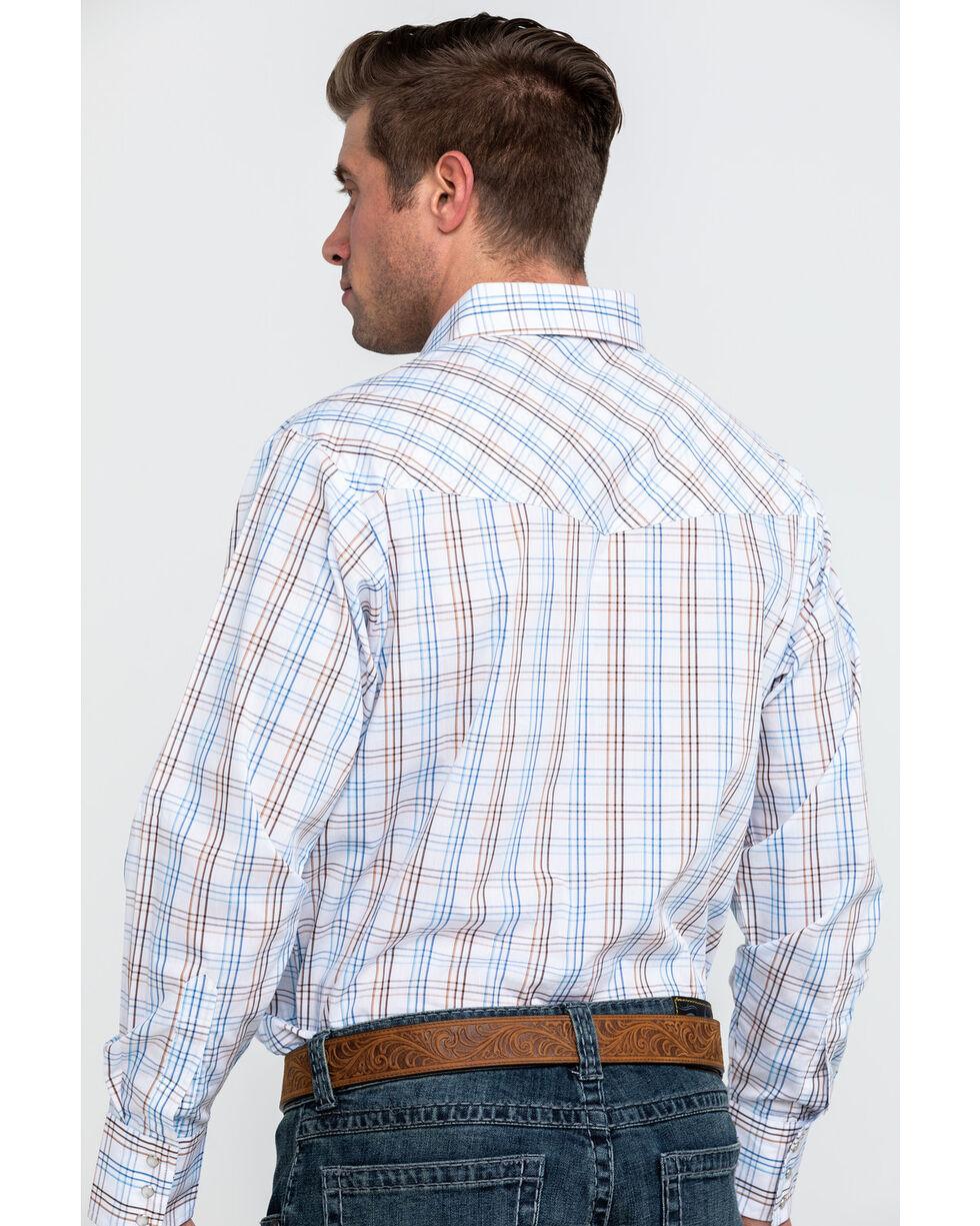 Ely Cattleman Men's White Large Plaid Long Sleeve Western Shirt, White, hi-res