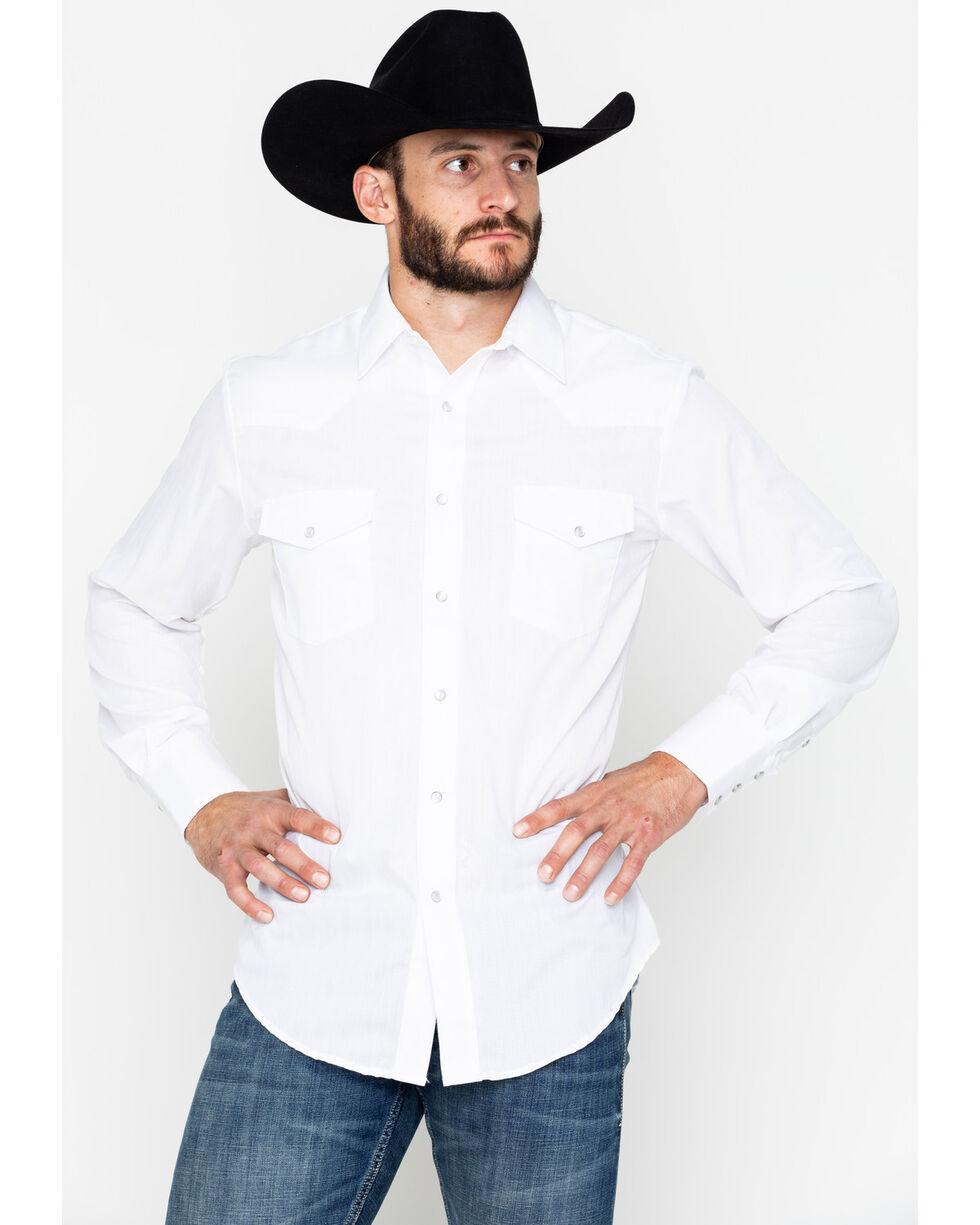 Roper Men's Solid Tone On Tone Long Sleeve Western Shirt , White, hi-res