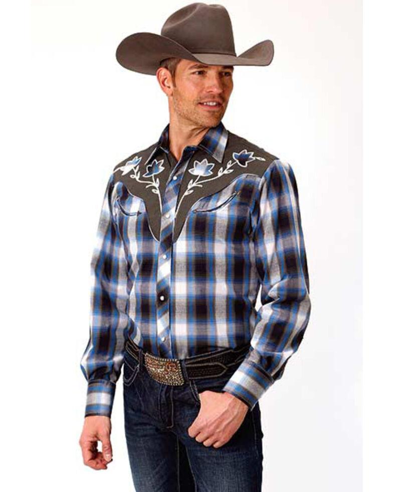 Roper Men's Fancy Med Plaid Long Sleeve Western Shirt , Blue, hi-res
