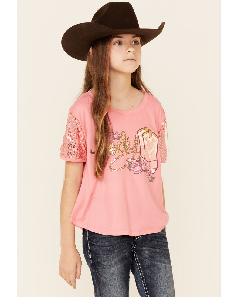 Shyanne Girls' Coral Sequim Howdy Graphic Short Sleeve Tee, Coral, hi-res