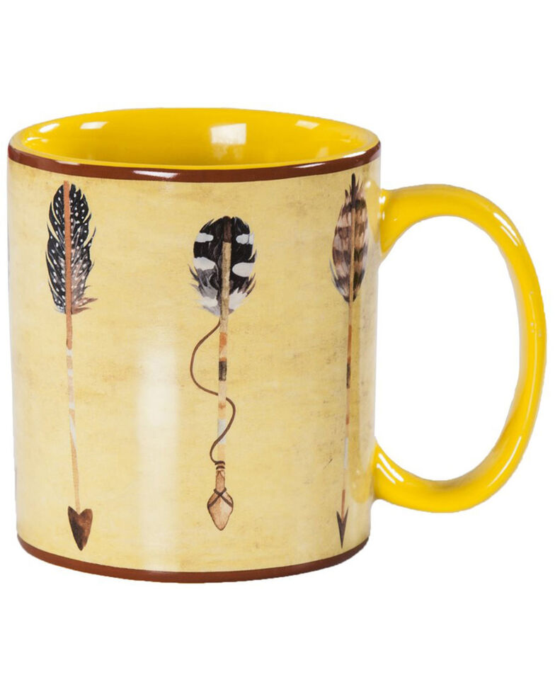 HiEnd Accents Large Arrow Design 4pc Mug Set, Yellow, hi-res
