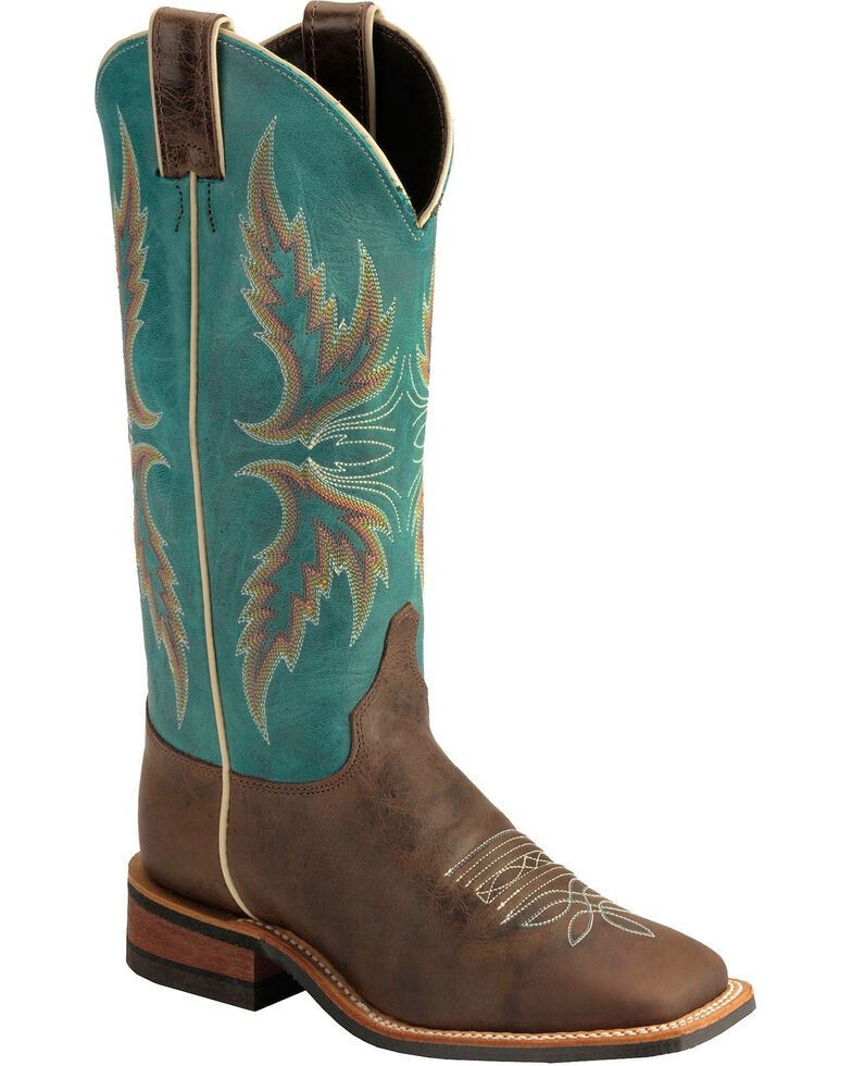 """Justin Bent Rail Women's 13"""" Uvalde Chocolate Cowgirl Boots - Square Toe, Chocolate, hi-res"""