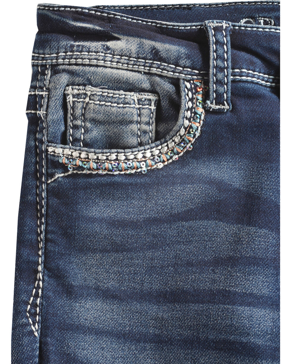Grace in LA Girls' (4-6X) Blue Feather Headdress Jeans - Boot Cut , Blue, hi-res